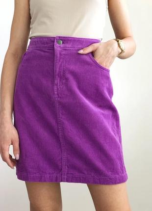 Вельветовая сиреневая юбка мини