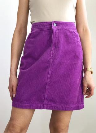 Вельветовая сиреневая юбка мини2 фото