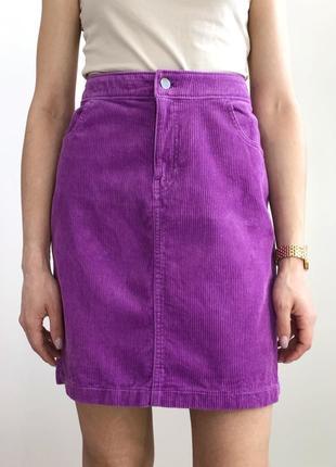 Вельветовая сиреневая юбка мини3 фото