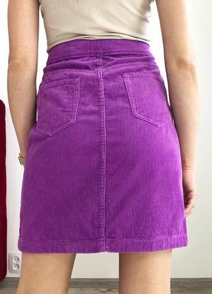 Вельветовая сиреневая юбка мини6 фото
