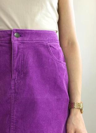 Вельветовая сиреневая юбка мини4 фото