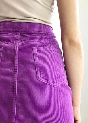 Вельветовая сиреневая юбка мини5 фото