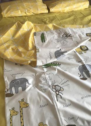 Детский постельный комплект полуторный жирафы крокодил