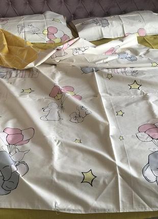 Детский постельный комплект полуторный с увеличенной простынью