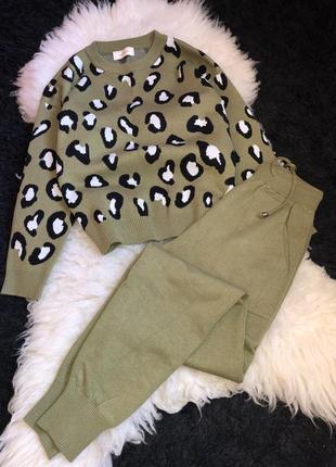 Прогулочные спортивный костюм леопард хаки акрил двойка штаны свитер кофта брюки
