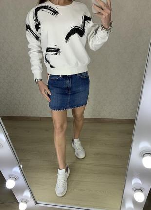 Джинсовая юбка с лампасами zara