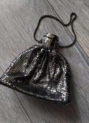 Театральная сумочка, клатч, металлического цвета