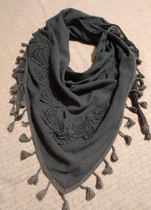 Шарф платок шаль коттон серый