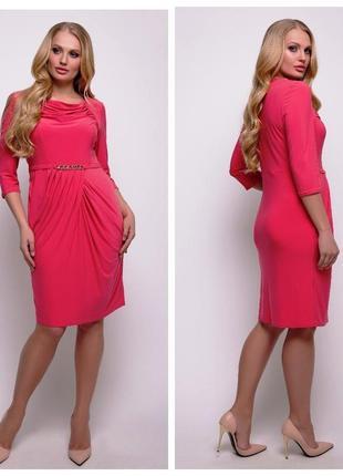 Коралловое элегантное струящееся платье, 52-54