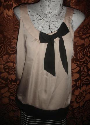 Фирменная стильная атласная блуза пудра 48 размер