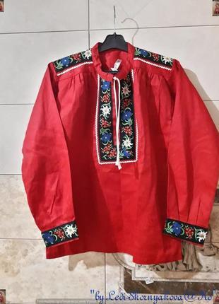 Новая красочная шикарная вышиванка со 100% хлопка сочного красного цвета, размер м-ка
