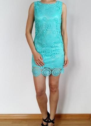 Нарядное бирюзовое платье. кружево
