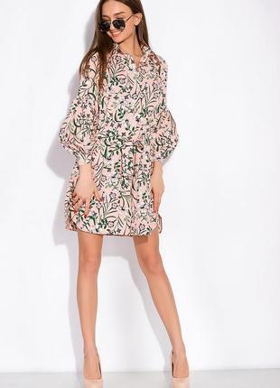 Цветочное платье с объемными рукавами 103p492
