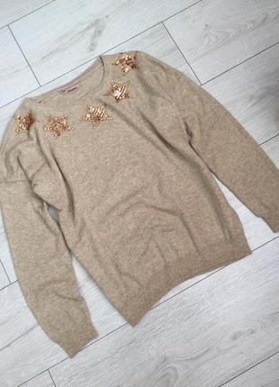Брендовый свитер с пайетками tiramisu s/m