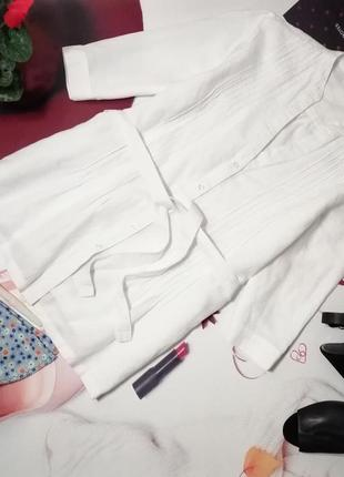Белая рубашка cotton traders, лен, размер 16/44