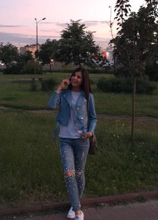Очень крутые рваные джинсы с бусинами