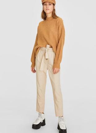 Брюки штаны штани высокая талия на завязках с пуговицами 7/8 песочные лён льняные новые