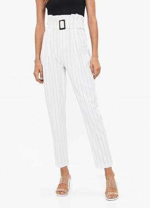 Брюки штаны штани высокая талия c ремнем поясом 7/8 белые в полоску новые