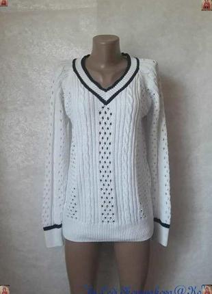 Фирменный tu белоснежный свитер в синюю полоску в оригинальную вязку, размер м-л