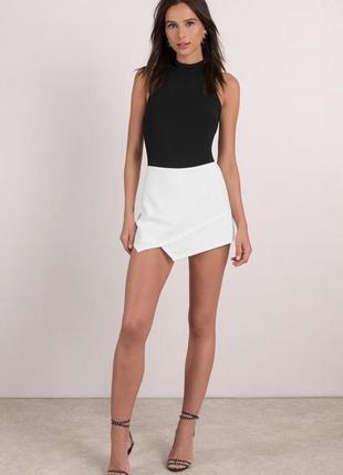 Белые,фактурные,комбинированные юбка-шорты ,высокая посадка,topshop