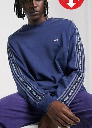 Оригинал tommy hilfiger/tommy jeans свитшот логотип синий usa