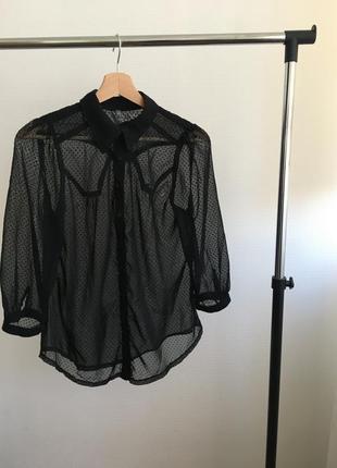 Прозрачная блузка в горошек , размер s