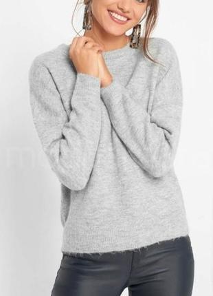 100% кашемировый теплый светло серый свитер джемпер