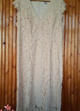 Вечернее кружевное платье миди h&m