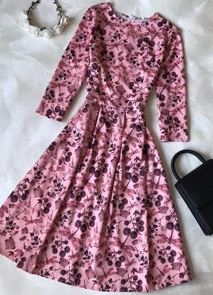 Роскошное новое платье миди актуальный принт розовое тренд