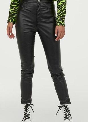 Кожаные брюки h&m утепленные р-р s (36)
