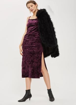 Вечернее бархатное платье-слип с разрезом