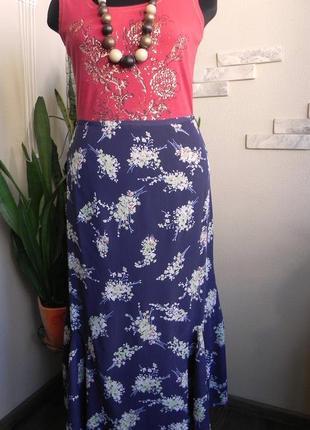 Длинная летняя юбка годе с цветочным принтом из вискозы