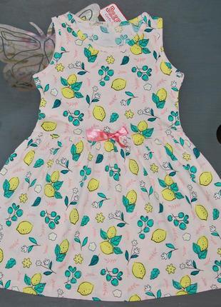 Летнее платье breeze турция 6-10 лет лимоны бриз турция