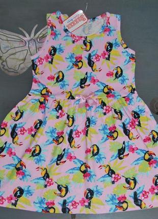 Летнее платье breeze турция 6-10 лет туканы птички бриз турция