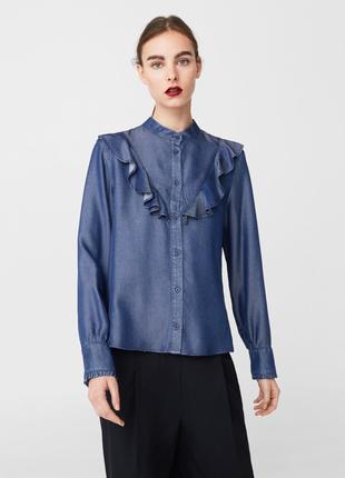 Стильная джинсовая рубашка с оборками mango