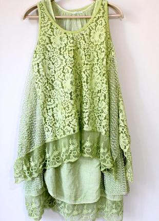 Двойное платье  с туникой  из кружева