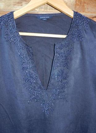 Красивенная льняная блуза  рубашка большой размер вышивка бисером lands' end