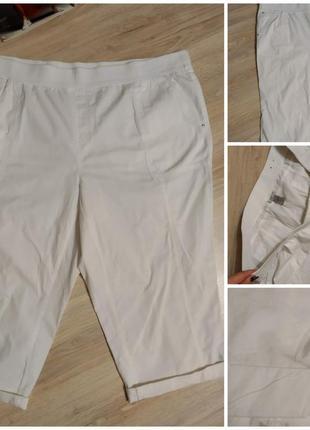 Белоснежные тонкие хлопковые брюки штаны бриджи капри