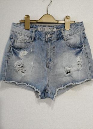 Короткие обрезные голубые джинсовые шорты на высокой посадке , uk 12