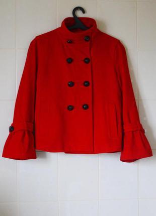 Шерстяное пальто zara рукав-колокол. 100% натуральная шерсть. размер м