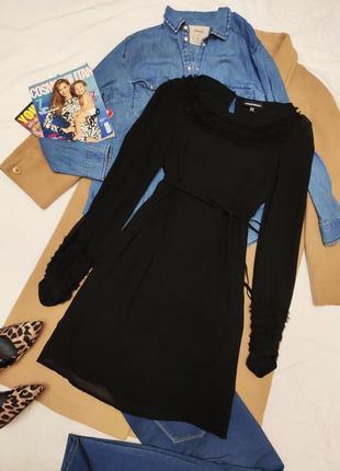 Warehouse чёрное шифоновое платье с длинным рукавом сеточкой под пояс