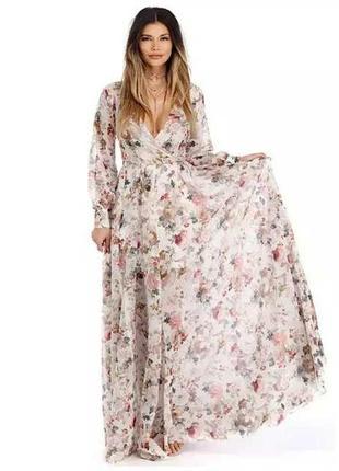 Шифоновое платье в пол в стиле бохо
