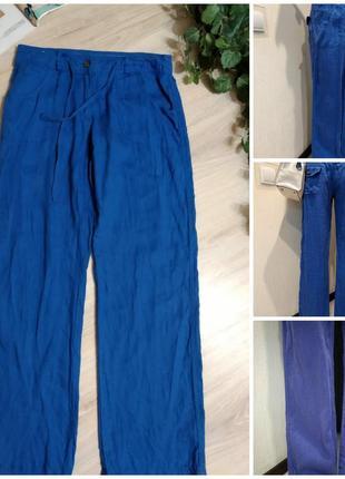 100%лен.яркие стильные хлопковые брюки штаны прямого покроя