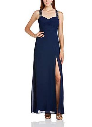 Вечернее платье синее выпускное длинное в пол с разрезом на ноге с пайетками lipsy