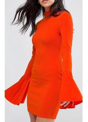 Платье с широкими рукавами оранжевое морковное по фигуре яркое ax paris