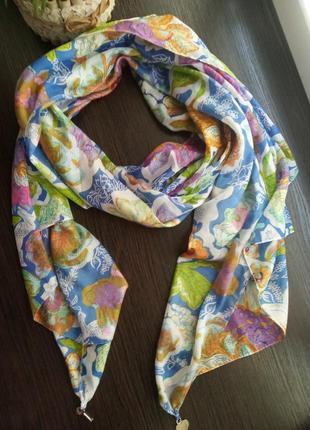 Шёлковый яркий шарф шаль палантин.