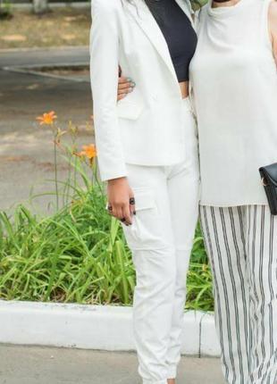 Брючный белый костюм berska