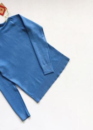Новый стильный гольф натуральная ткань голубой