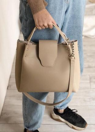 Бежева вместительная сумка шоппер (есть цвета)