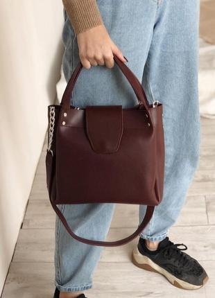 Бордовая вместительная сумка шоппер (есть цвета)